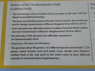 Cubbon Park sign