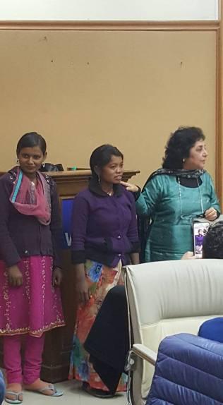 Mridula Bajaj (right) introduces workers