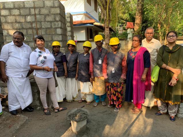Delegates visit women masons onsite